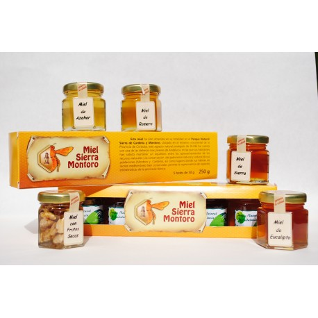 Muestrario en miniatura de distintos tipos de miel